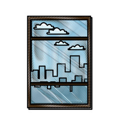 drawing window with view building urban skyline vector image