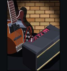 Electric guitar and guitar amplifier vector