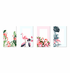 exotic pink flamingo birds with leaves and flowers vector image