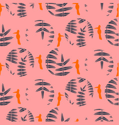 Fern pink leaves circles and birds seamless vector