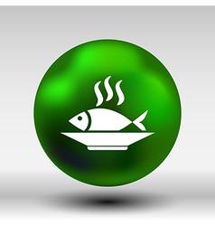Fish menu icon logo seafood fork tuna vector image