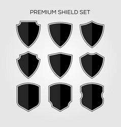 flat shield set geometric premium logo icon vector image