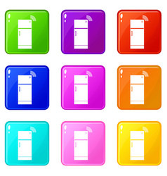 Fridge icons 9 set vector
