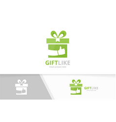 gift and like logo combination present and vector image