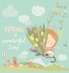 Girl sitting on swing with spring flowers vector