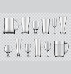 Glasses mugs and wine glasses realistic vector