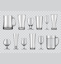 Glasses mugs and wine realistic vector