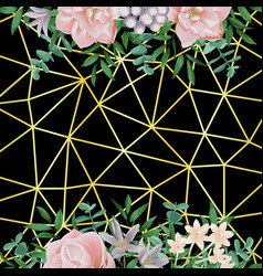 Gold geometric background wiht flowers and vector