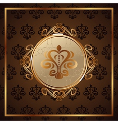 Gold invitation frame or packing vector