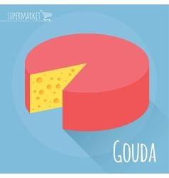 Gouda cheese icon vector image