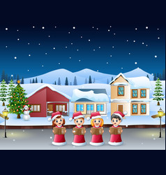Group of kids in red santa costume singing christm vector