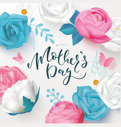 happy mothers day banner with beautiful flowers vector image