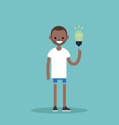 Idea concept aha moment young smiling black boy vector