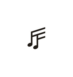 initial ff music notes logo design inspiration vector image