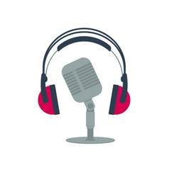 isolated flat icon old microphone and headphones vector image