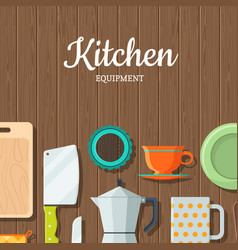 kitchen utensils flat icons on wooden vector image