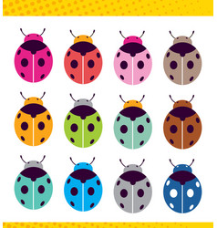 Ladybug pattern abstract texture set different vector
