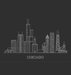 linear chicago city skyline vector image