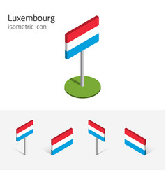 Luxembourg flag set of 3d isometric icons vector