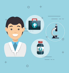 male doctor with medical icons vector image