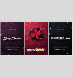 merry christmas and happy new year set of vector image