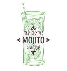 mojito fresh cocktail with lime and mint vector image