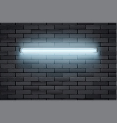 Neon lamp on black brick wall vector
