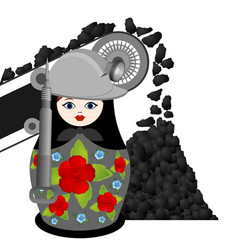 nesting doll coal miner and the conveyor vector image