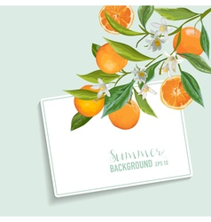 Oranges and Flowers Card Fruit Background Wedding vector