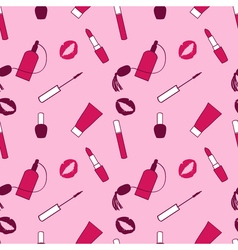 Pink and purple makeup seamless pattern for momen vector