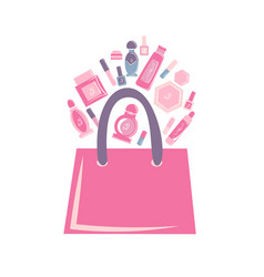 Pink bag with cosmetics vector