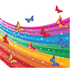 rainbow and butterflies vector image