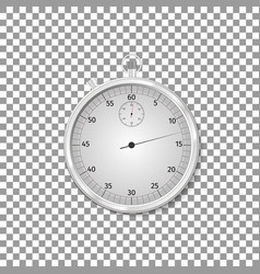 realistic classic silver stopwatch isolated object vector image