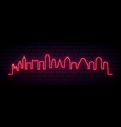 red neon skyline austin city bright austin vector image
