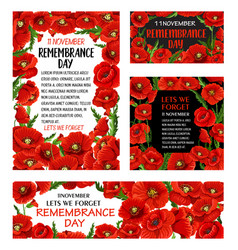 Remembrance day red poppy flower poster design vector