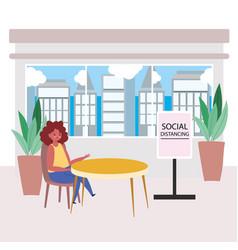 Restaurant social distancing woman sit a distance vector