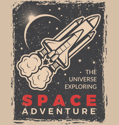 Retro poster with space shuttle design template vector