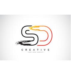 Sd creative modern logo design with orange and vector