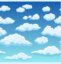 seamless sky with clouds cute cloudy blue sky 2d vector image