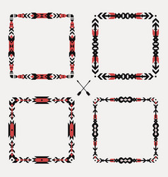 set with abstract geometric ethnic frames tribal vector image