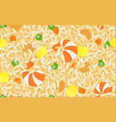 Shrimp fried rice seamless pattern thai food vector