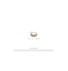 simple minimalist nest line outline logo design vector image