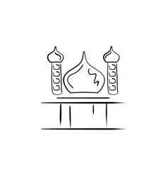 Sketch of mosque with two minarets hand drawn vector