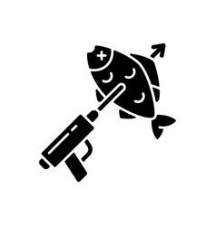 spearfishing black glyph icon vector image