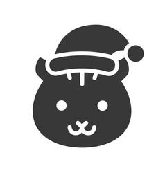 squirrel wearing santa hat silhouette icon design vector image