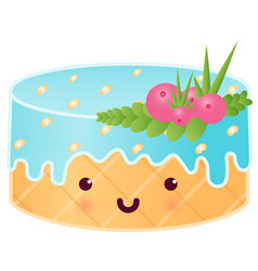 sweet cute cake with berries vector image