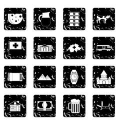Switzerland set icons grunge style vector