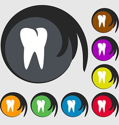 tooth icon Symbols on eight colored buttons vector image