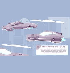 Transport future flat poster vector