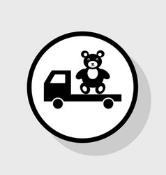 truck with bear flat black icon in white vector image